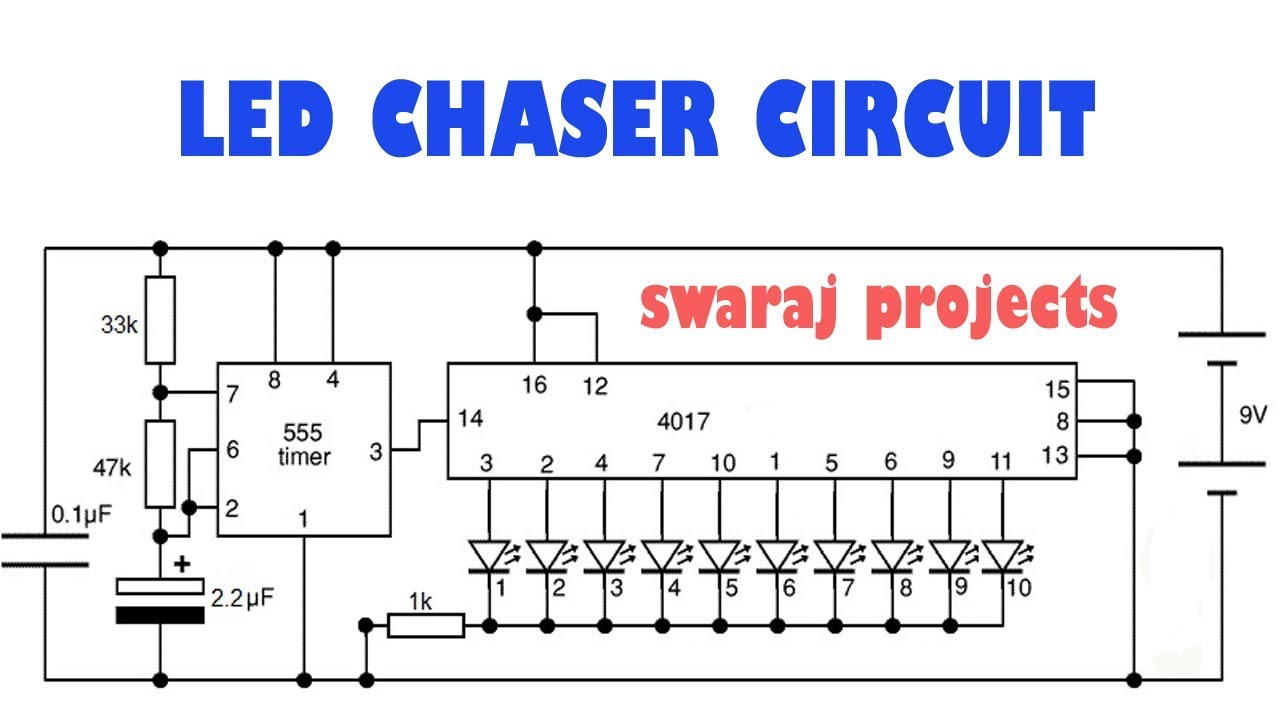 Running Lights Circuit Diagram Autopage Rf 425 Wiring How To Make Led Chaser | Ic Cd 4017 Breadboard Projects - Youtube