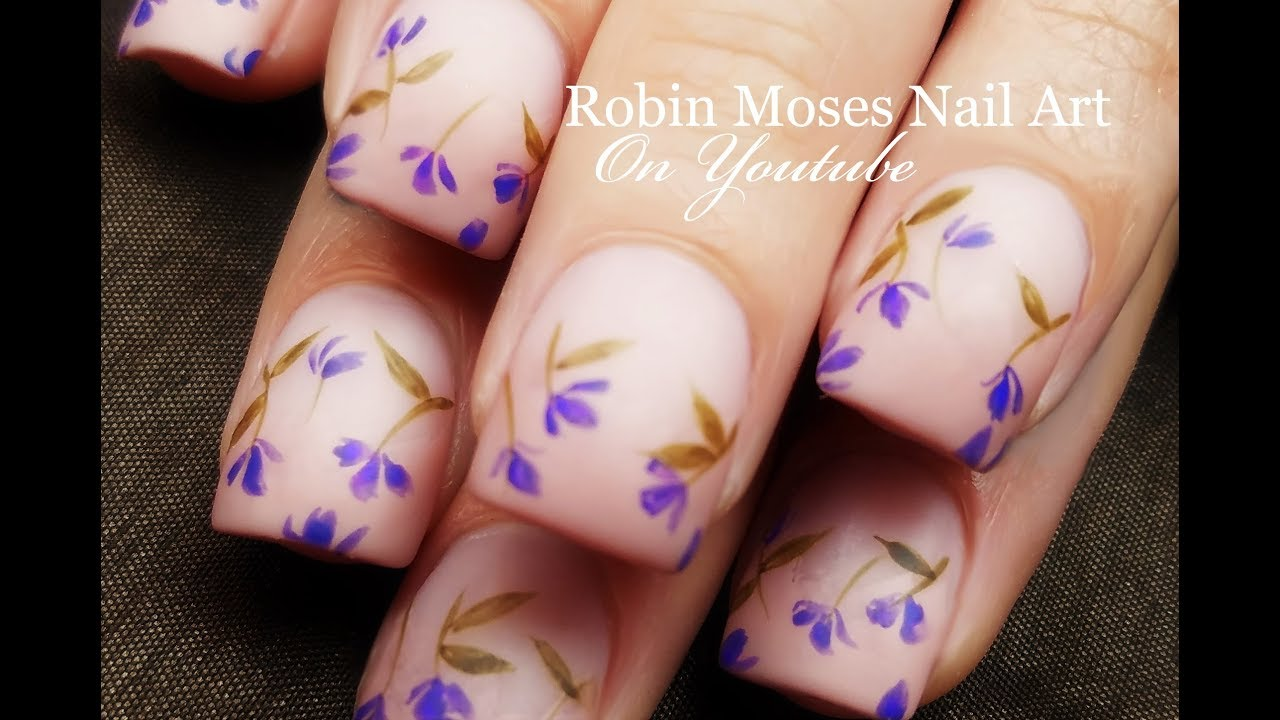 Falling Lavender Flowers | DIY Easy Beginner Nail Art Design ...