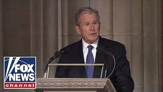 George W. Bush delivers an emotional eulogy at his father's funeral