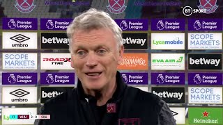 """Keep talking, it sounds great!"" David Moyes reacts to West Ham breaking into top four"