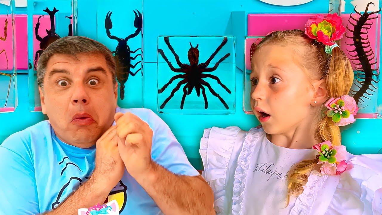 Nastya aprende sobre los insectos de su padre