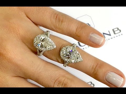 Comparing 2 Carat Pear Shape Diamond Halo Engagement