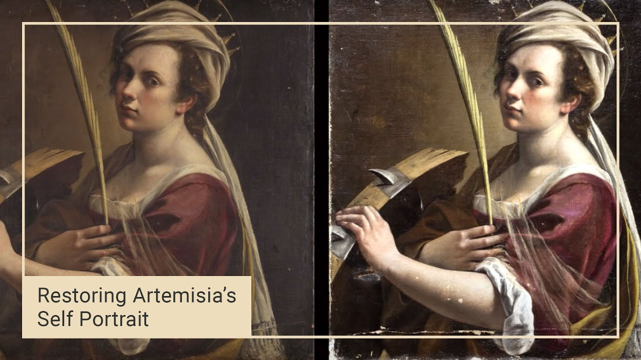 Finishing the clean   Cleaning Artemisia's 'Self Portrait'   National  Gallery