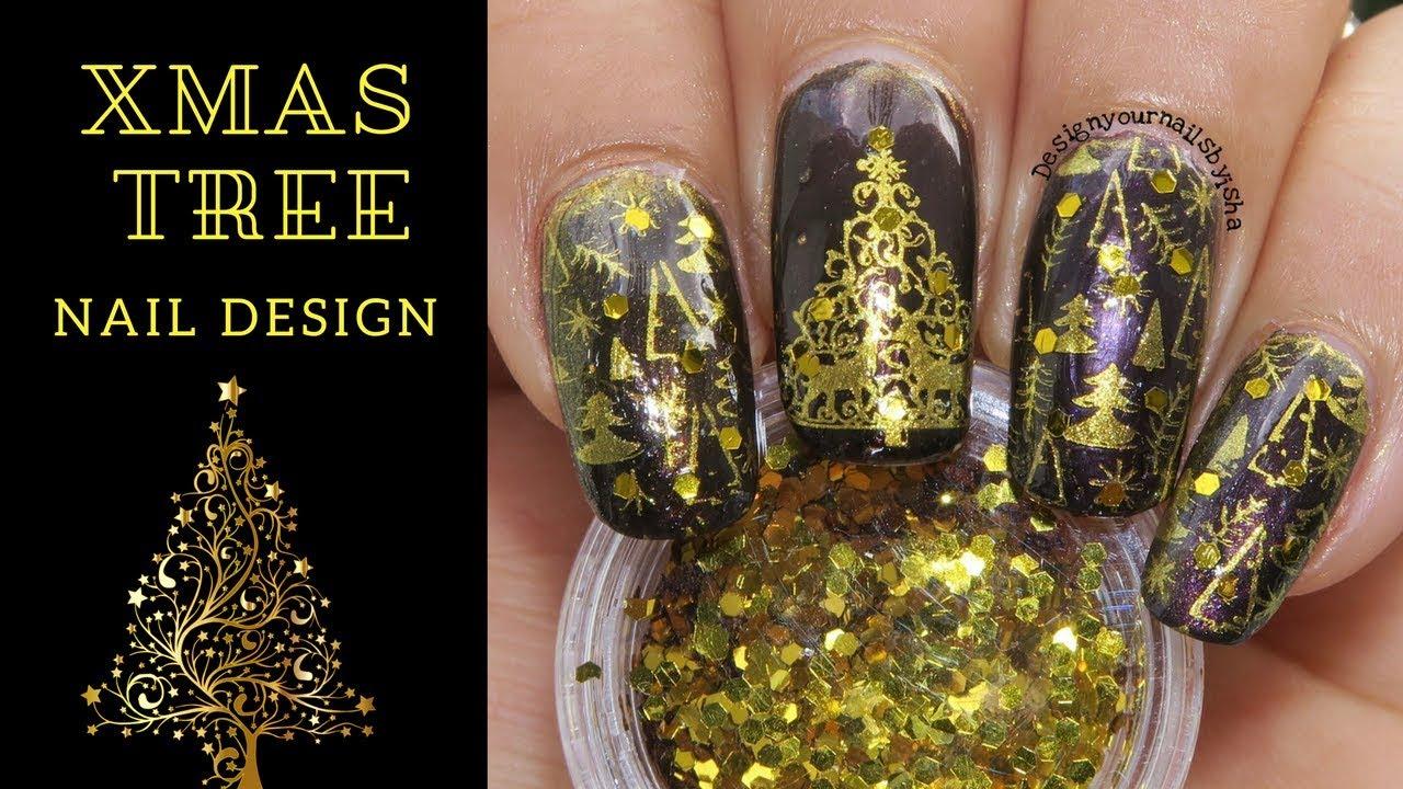 Golden Christmas Tree Nail Art Design Designyournailsbyisha Youtube