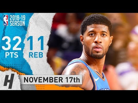 Paul George NASTY Highlights Thunder vs Suns 2018.11.17 - 32 Points, 11 Reb, 3 Blk
