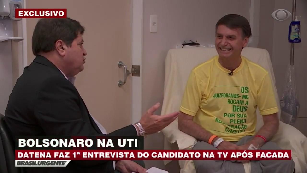 Resultado de imagem para Datena entrevista Bolsonaro na UTI de hospital em SP
