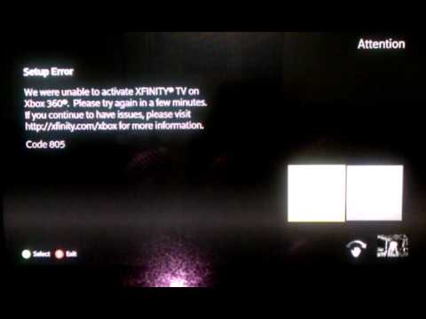 Xbox 360 xfinity error code 805 999 7000 and other