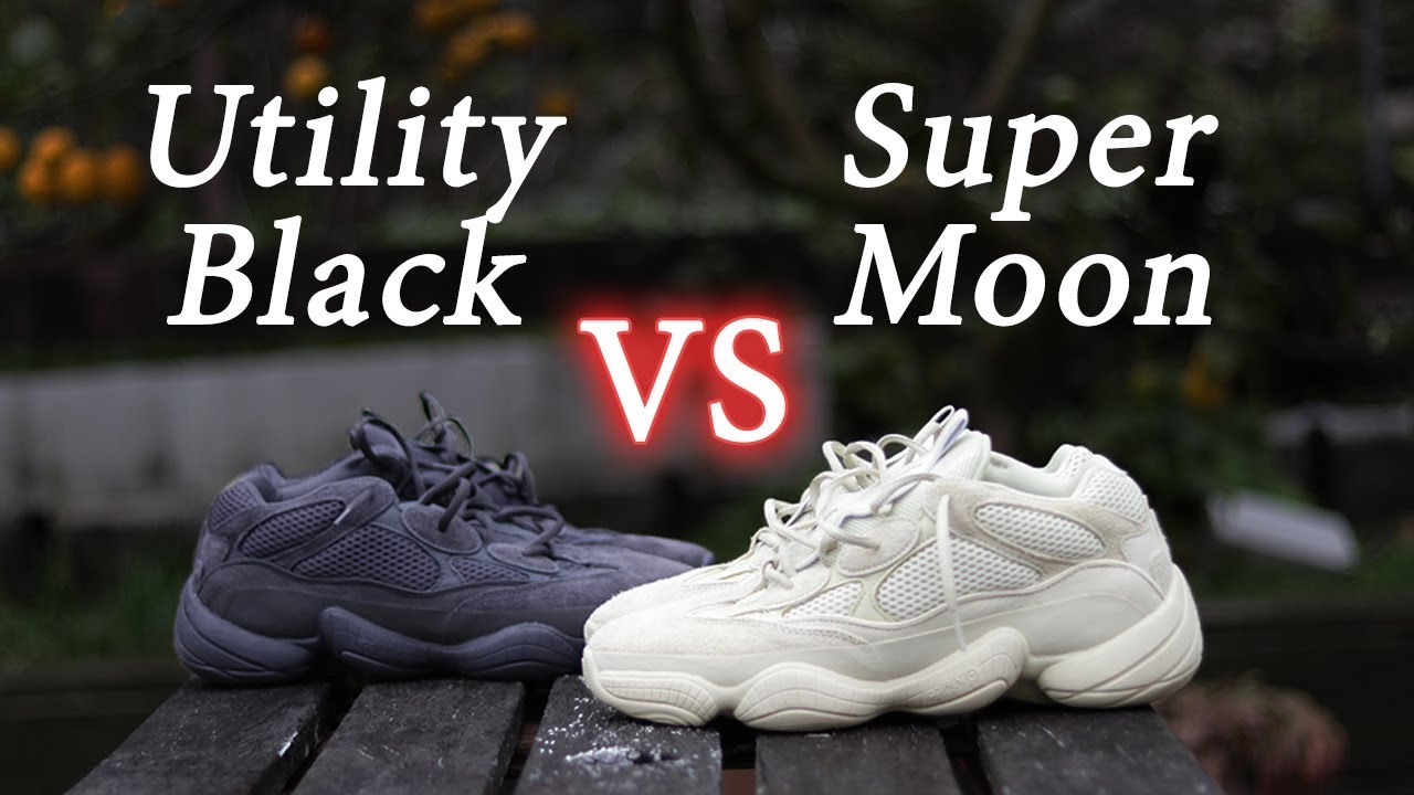 online retailer b5f33 503c7 Yeezy 500 Comparison | Supermoon Yellow vs Utility Black | Close Up +  On-Feet
