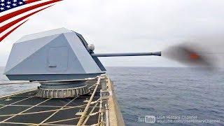 ボフォース57mm砲&デコイ(チャフ)を発射するインディペンデンス級沿海域戦闘艦