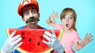 Pretend Play with Watermellon and Toothbrush