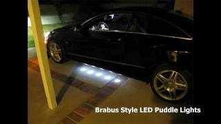 mercedes w212 e350 coupe installed brabus style led under car puddle lights