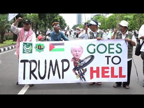 Thousands protest in Jakarta against Trump