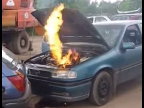 opel without oil indestructible engine with fire flames