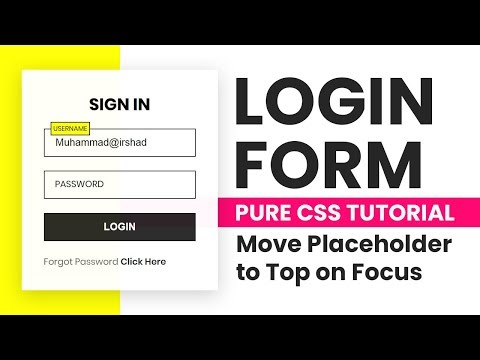 Login Form In Html CSS | Floating Placeholder Using Html And CSS Only