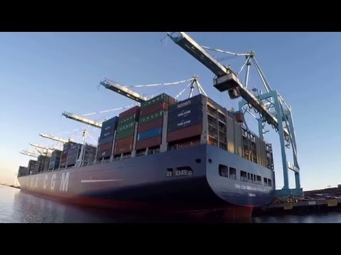 CMA CGM Benjamin Franklin During The Port Of Los Angeles