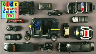 Learn Black Colors Vehicles For Kids Children Babies Toddlers | Kids Learning Video