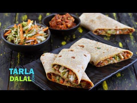 होल व्हीट सलाद रैप (Whole Wheat Salad Wrap) by Tarla Dalal