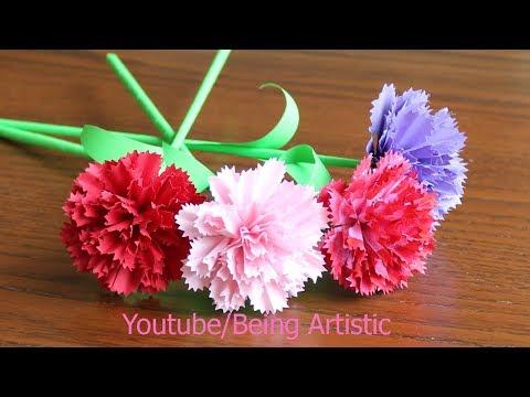 Easy way  To Make Carnation Paper flower -  DIY - Paper Craft