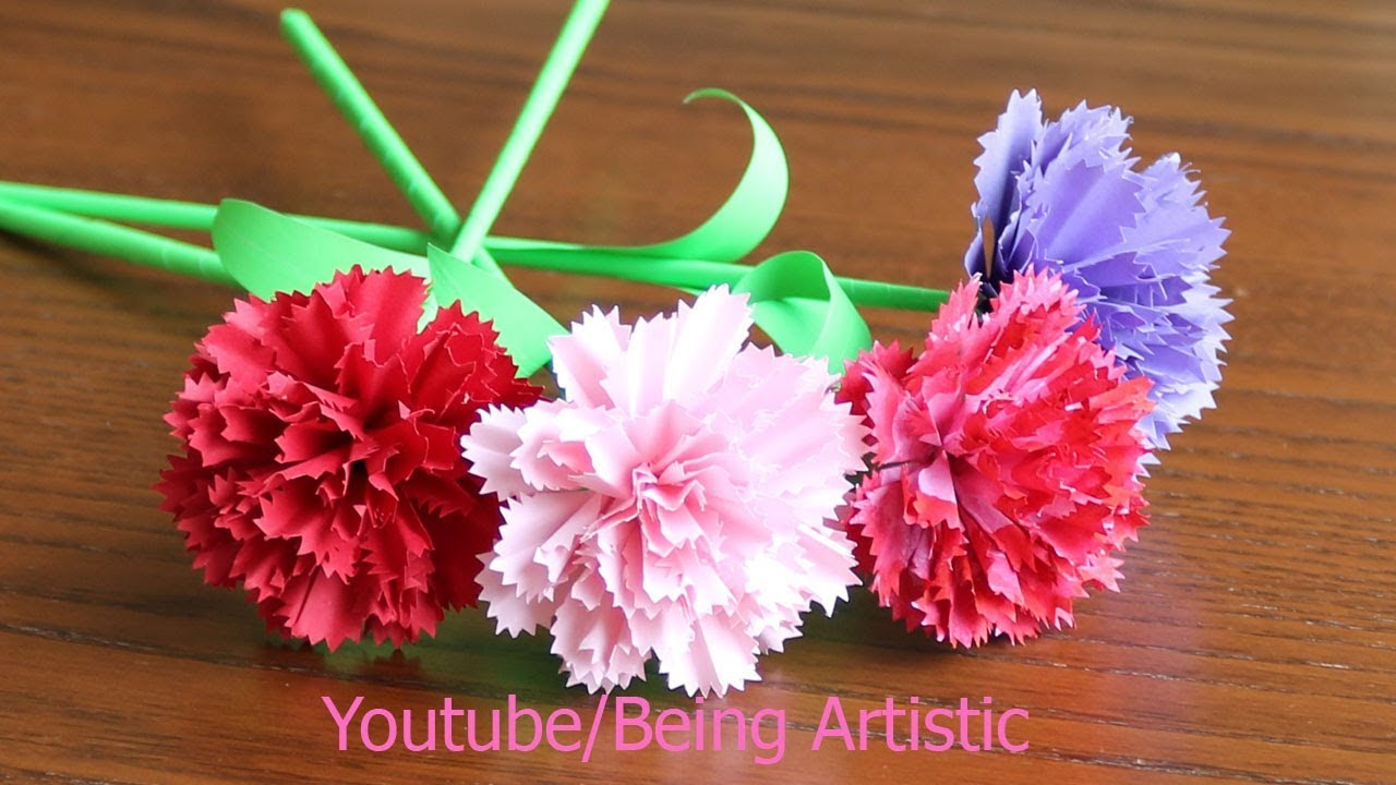 Easy Way To Make Carnation Paper Flower Diy Paper Craft Youtube