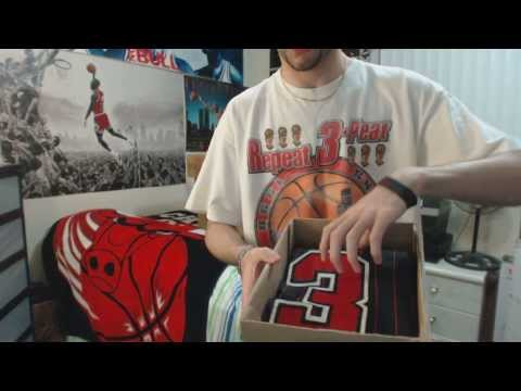 49eb5149e63ad6 Unboxing  Michael Jordan Black Red Chicago Bulls Pinstripe Jersey (1080p)