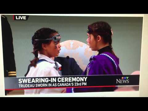 Little Girls Doing Inuit Throat Singing At PM Swear-In