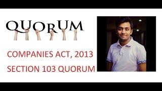 Companies Act 2013   QUORUM SECTION 103  