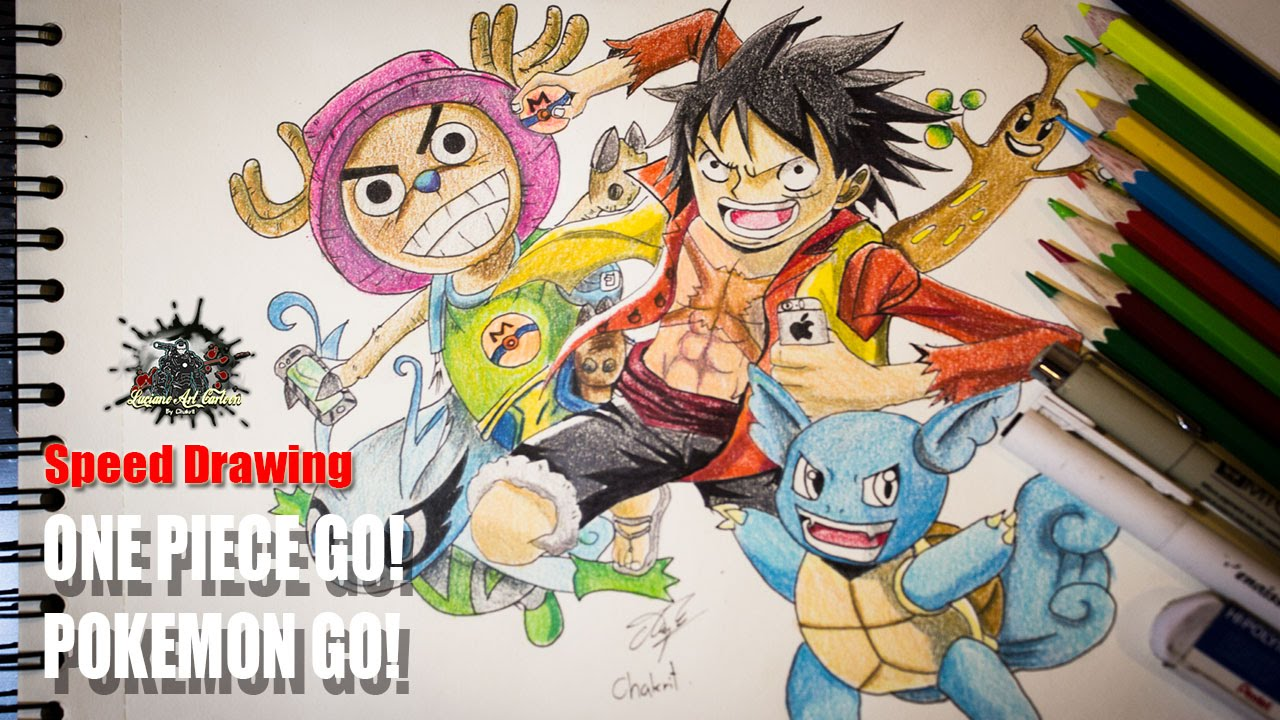 one piece go or vs pokemon go speed drawing youtube