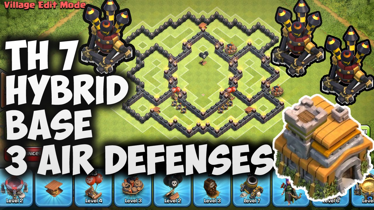 Town hall 7 th7 hybrid base 3 air defenses quot new update quot clash of