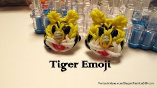 Rainbow Loom Tiger Emoji/Emoticon Face Charm - How to