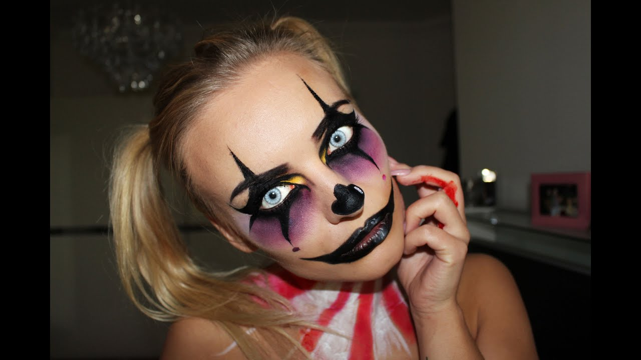 creepy clown halloween make up tutorial youtube. Black Bedroom Furniture Sets. Home Design Ideas