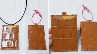 목걸이형 카드지갑 가죽으로 깔끔하게 만들었어요 편리한 …
