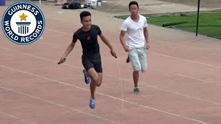 Fastest 100m hopping on one leg and jumping rope - Guinness World Records
