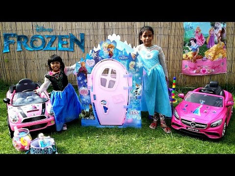 Elsa & Anna Drive their Pink Cars to the Frozen Playhouse   Fun Playtime Disney Kids Toy   Role Play