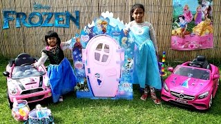 elsa anna drive their pink cars to the frozen playhouse   fun playtime disney kids toy   role play