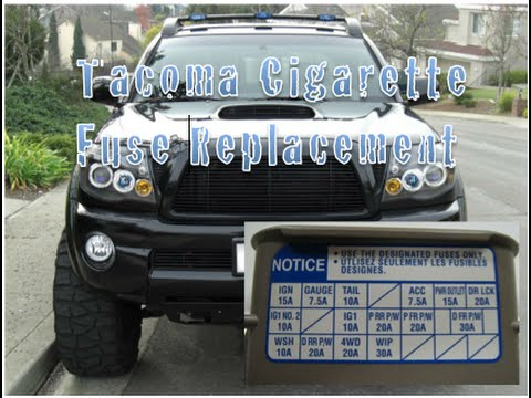 hqdefault toyota tacoma cigarette fuse replacement year 2004 2009 youtube 2011 toyota tacoma fuse box at arjmand.co