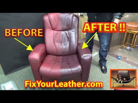 Leather Repair Video - Chair in Maroon-B