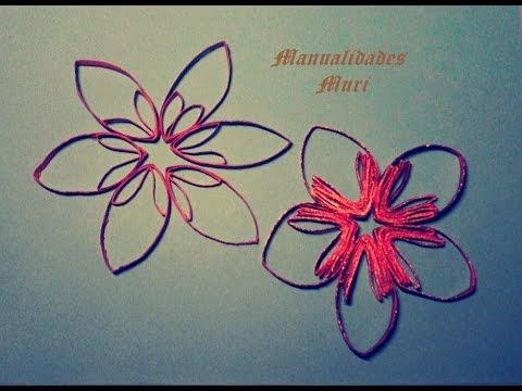 Manualidades estrellas flores para decorar con rollos de - Manualidades con rollos de papel higienico para navidad ...