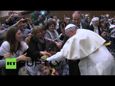 Vatican City: Pope Francis meets autistic children