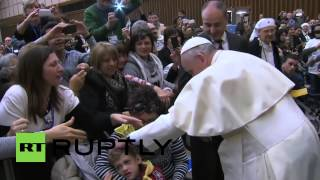 Vatican City: Pope Francis meets autistic children