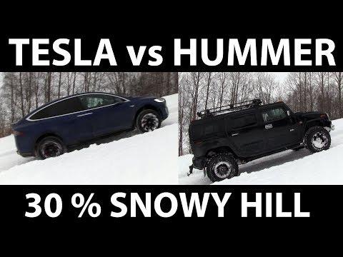 Tesla vs Hummer on steep hill