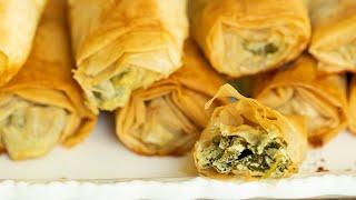 Spanakopita Rolls: Greek Spinach with Feta Phyllo Rolls for Thanksgiving