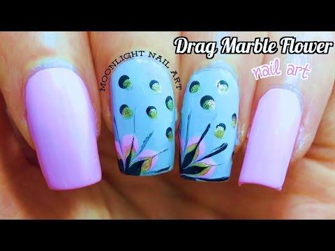 Purple Drag Dry Marble Nail Art Tutorial
