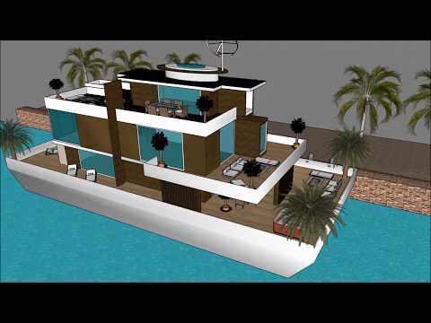 Urban houseboat in Glasgow Scotland for houseboat living on the waterfront as a renewable mansion de