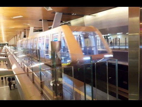 Glass-roofed Monorail at Doha Hamad Airport, Qatar