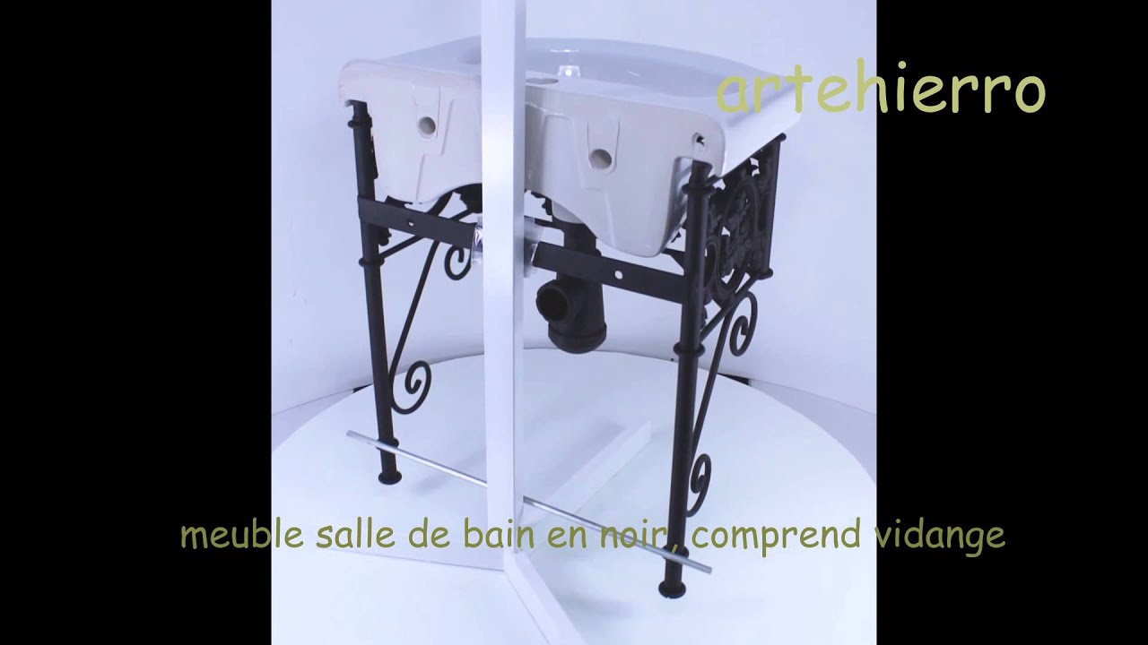 meubles de salle de bains en fer forge youtube. Black Bedroom Furniture Sets. Home Design Ideas