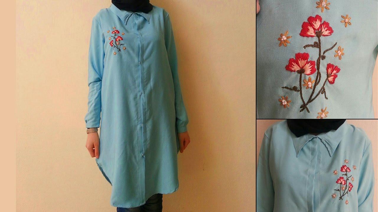 2e8130edf5364 طريقة تفصيل وخياطة قميص حجاب طويل - YouTube