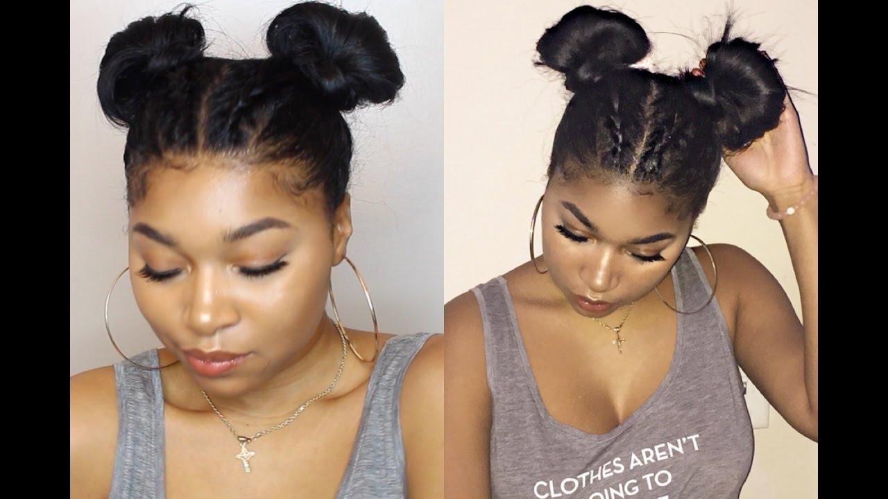 Braids into 2 Space Buns | Keyera Michelle - YouTube