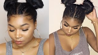 Braids into 2 Space Buns | Keyera Michelle