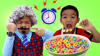 Eric and Alex Pretend Play Visit Grandfather and Not Be Lazy | Funny Kids Video