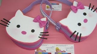 Repeat youtube video BOLSOS O COTILLONES EN FOAMY GOMAEVA  DE HELLO KITTY CON MOLDES - FIESTAS INFANTILES